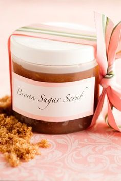 Corrie's Brown Sugar Body Scrub       1 cup dark brown sugar     1/2 cup extra virgin olive oil, can substitute sweetened almond oil or vegetable oil     1 teaspoon vitamin E, (cut open vitamin E liquid gel caps)     1 teaspoon vanilla extract, or your favorite citrus essential oil (optional)     1 tablespoon honey, optional for dry skin