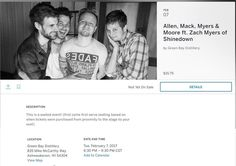 Ashwaubenon WI! @ZackMack513 @ZMyersOfficial @JRMoore901 #MackMyersMoore at Green Bay Distillery on Feb. 7th!  Tickets go on sale Dec. 30th: https://www.eventbrite.com/e/allen-mack-myers-moore-ft-zach-myers-of-shinedown-tickets-30695470980