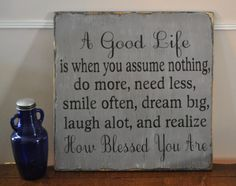 Family Signs, Living Room, Kitchen Decor Wall Art, A Good Life Handpainted Wood Sign, Distressed, Gift, Home Decor, Inspirational, Primitive, Rustic Ideal for Any Room in Home