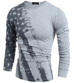 2016 Long Sleeve USA American Flag Printed T-shirts Fall Men Fitness Camiseta H7751