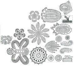 crochet flower and leaf motif diagrams