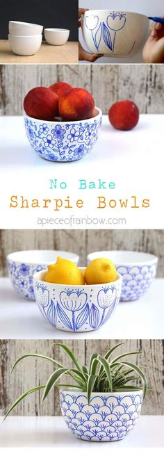 "No-Bake-Sharpie-Bowls-apieceofrainbow- ""While Sharpie markers are AP-certified non-toxic, we do not recommend using them on areas of items that may come in contact with food or the mouth, such as the rim of a coffee cup."""