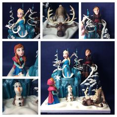 Disney's  Frozen themed Cake  - handmade edible figures of Anna, Elsa, Kristoff, Olaf and Sven. The castle and the mountain is all cake.