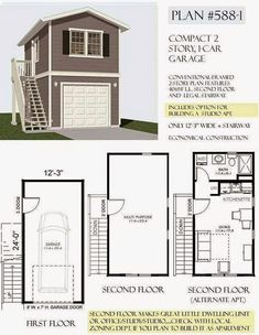 Garage with Apartment Plans New 2 Story Garage Plans with Apartments – Pact Home – Cool modern house plans Garage Shop Plans, Garage Plans With Loft, Loft Plan, Building A Garage, Garage Apartment Plans, Garage Apartments, Car Garage, Garage Ideas, The Plan