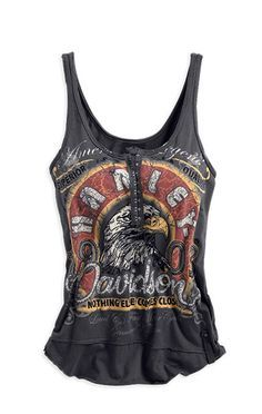 cool vintage look, harley davidson tank tops for women | View More Images #ladyriders #ridinginstyle #chopperexchange