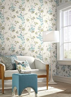 Soft Blossoms Wallpaper in Blue and Grey design by Carey Lind for York – BURKE DECOR