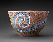 Hand carved ceramic cup/teacup/coffee cup with flowers and blue swirl