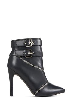 Sleek, chic, and totally sexy, JF Ivy by JustFab features a single sole silhouette with a pointed toe, buckled ankle straps, and exposed zipper detail.