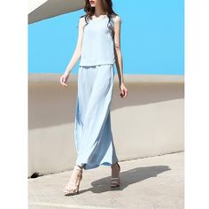 a761c25f33e Original 2017 Brand Summer Rompers Light Blue Casual Crew Neck Solid Wide  Leg Jumpsuits Women Wholesale
