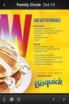 Cake batter pancakes @Heather Dean