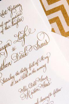 Wedding invitation in gold/designsgirl calligraphy