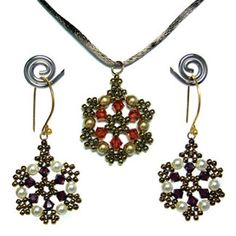 Renaissance earrings and pendant.Perfect for making a snowflake to hang in the window if you don't wear wire drops, or even if you do