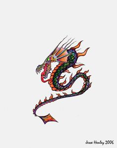 A colorful dragon I created as an original tattoo design, I also turned into a t-shirt design for my online store Dark_Image (zazzle.com/Dark_Image*)