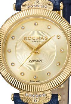 Ceas elveţian ROCHAS PARIS, de damă, cu o curea de piele decorat cu 26 de diamante - reducere 88% ! Gold Watch, Mall, Clock, Paris, Watches, Best Deals, Top, Accessories, Fashion