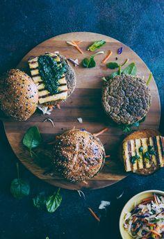 Chickpea and Quinoa Burgers with Halloumi