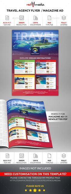 Travel Agency Flyer Design Template / Magazine AD Design Template - Commerce Flyers Design Template PSD. Download here: https://graphicriver.net/item/travel-agency-flyer-magazine-ad/19324737?ref=yinkira