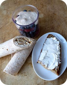 Easy lunch box ideas: barbecue pulled chicken on a whole-wheat tortilla; berries with cinnamon-sugar sour cream; and sourdough bread topped ...