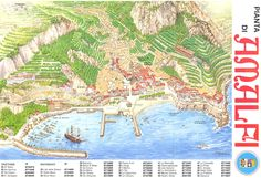 mappery is a diverse collection of real life maps contributed by map lovers worldwide. Find and explore maps by keyword, location, or by browsing a map. Amalfi, Travel Illustration, Places To Travel, Maps, Diagram, Italy, Inspirational, Illustrations, Painting