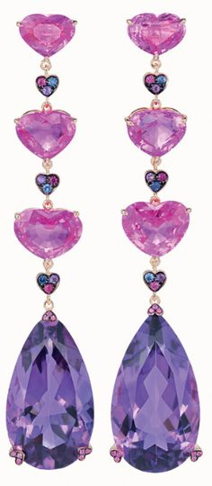 CHOPARD | Pink and Purple Drop Earrings | {ʝυℓιє'ѕ đιåмσиđѕ&ρєåɾℓѕ}