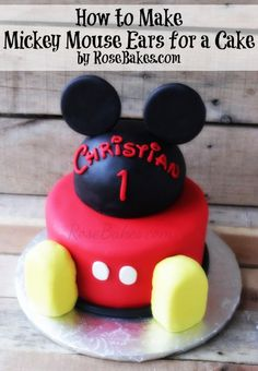 How to Make Mickey Mouse Ears for a Cake | http://rosebakes.com/how-to-make-mickey-mouse-ears-for-a-cake/