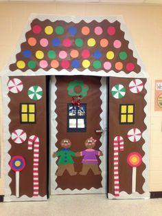 Classroom Door Decorations   Winter classroom door decoration -gingerbread house   Christmas