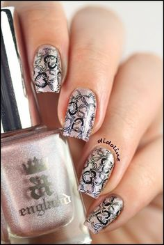 A England 'Her Rose Adagio' decorated with stamping plate # 10 of the Moyou Princess Collection using Konad black stamping varnish. @ by Didoline's Nails
