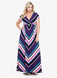 Multicolor Mitered Striped Surplice Maxi Dress | Torrid