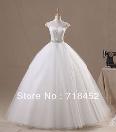 Princess Ball Gown Wedding Dresses | ... Sleeve Wedding Dress High Neck Keyhole Back Princess Ball Gown TB187