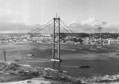 25 de Abril Bridge, Lisbon, Portugal. The construction began on 5 November 1962.