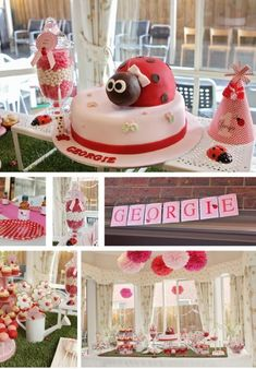 ladybug party - love the pink/white pompoms First Birthday Cakes, First Birthday Parties, First Birthdays, Birthday Ideas, Pink Ladybug Birthday, Ladybug Party, Bird Party, Baby Shower Parties, Ideas Para Fiestas