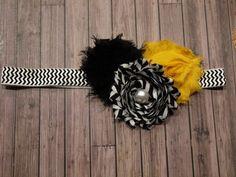 Triple Shabby Flower Headband by stylesbym on Etsy, $9.00  yellow and black (Mizzou fans)