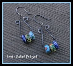 earrings made with dark annealed steel