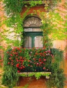 Balcony in Marostica, Province of Vicenza, Veneto - Italy (photo via pieceofkuchen) Balcon Juliette, Fachada Colonial, Balcony Window, Balcony Flowers, Balcony Plants, Pot Jardin, Garden Windows, Unique Doors, Through The Window