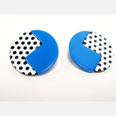 80's Earrings Blue White Black now featured on Fab.