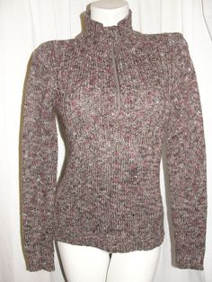Liz Claiborne Top Brown Red Zip Mock Neck Sweater Cable Knit Sweater Womens Sz S #LizCo #12Zip #CasualWork