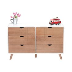 Carl Scandinavian Style Credenza - Natural / White