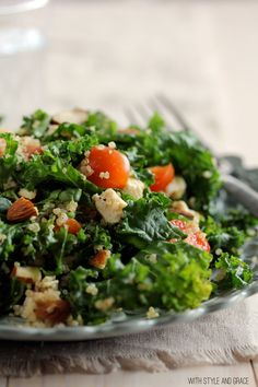 raw kale salad with lemon chicken and quinoa