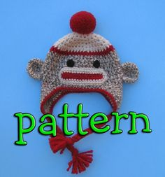 PDF Crochet Pattern, Sock Monkey Hat with Earflaps, Braids, and Pompom or Flower, Newborn to Teen Size, Sell What you Make via Etsy