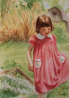 """Polka Dot Dress"" Original Watercolor by Sarah Pogue"