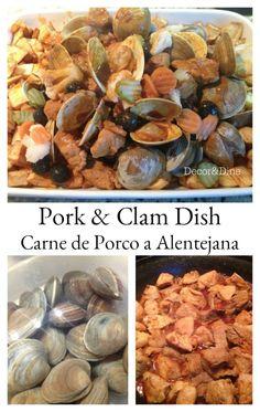pork and clam dish, carne de porco a alenejana Clam Recipes, Seafood Recipes, Asian Recipes, Clean Eating Recipes, Cooking Recipes, Cooking Ideas, Vegan Essentials, Portuguese Recipes, Portuguese Food