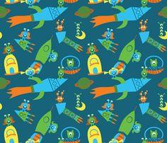 Space Adventure fabric by honeycombdesignstudio on Spoonflower - custom fabric