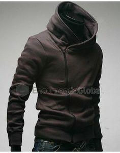 Jaqueta masculina com capuz e zíper assimétrico