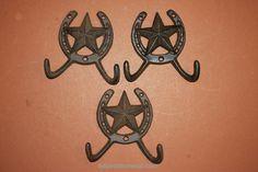 Cast Iron Lone Star Horse Shoe Wall Hooks, free shipping, (TC) (WC)
