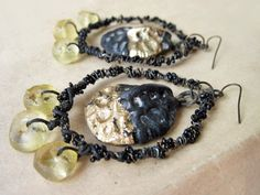 Come to Dust. Alligator Scales and Gold Foil Rustic Assemblage Earrings.