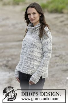 """Irish Cloud - Crochet DROPS jumper with vents and detachable collar in """"Brushed Alpaca Silk"""" and """"Fabel"""". Size: S - XXXL. - Free pattern by DROPS Design Pull Crochet, Crochet Jumper, Mode Crochet, All Free Crochet, Knit Crochet, Jumper Patterns, Knitting Patterns Free, Free Pattern, Crochet Patterns"""