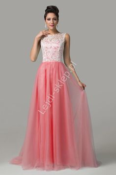 Sukienka na wesele | koralowa sukienka z gipiurą