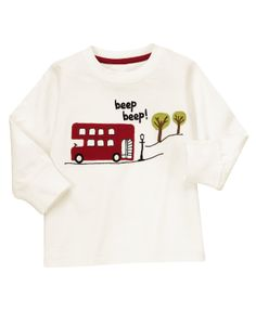 Beep Beep! Super soft tee features a London bus for playful detail.