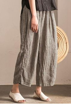 Lovely Black White Grid Wide-legged Pants Linen Casual Trousers K107B Pants Outfit, Dress Pants, Dress Me Up, Linen Pants, Linen Dresses, Slow Fashion, Cotton Linen, Cotton Fabric, Wide Leg Pants