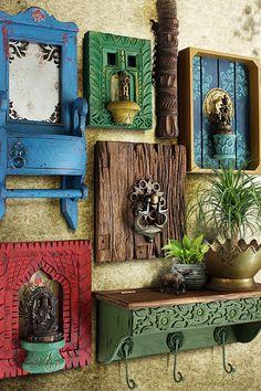 Indian Room Decor, Ethnic Home Decor, Wall Decor Design, Art Decor, Diy Bedroom Decor, Diy Home Decor, Antique Wall Decor, Wall Painting Decor, Indian Home Interior