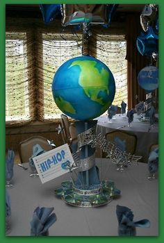 Globe Of The World Centerpiece For A Green Party